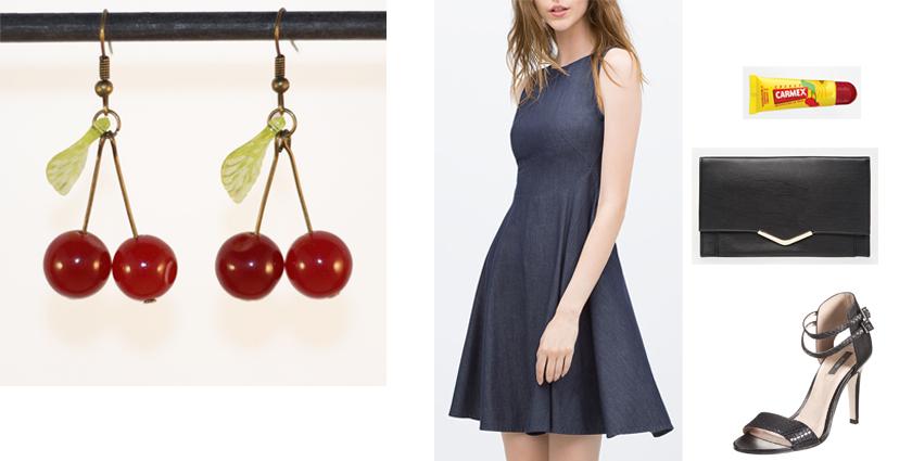 Sélection shopping, idée de tenue classe et féminine, à assortir aux boucles d'oreilles cerises.