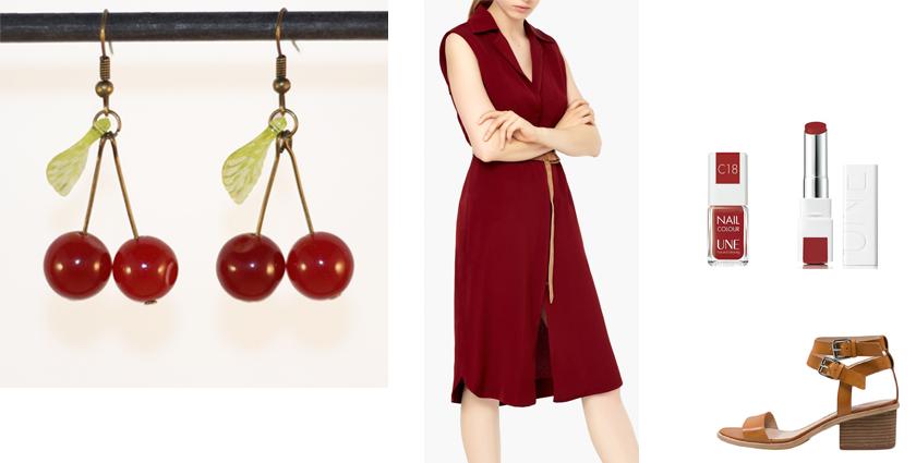 Sélection shopping, idée de tenue rouge bordeaux chic, à assortir aux boucles d'oreilles cerises.