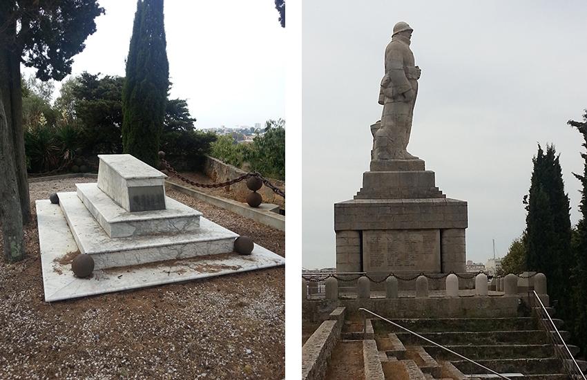 Tombe du général Championnet et statue du poilu du fort carré d'Antibes.