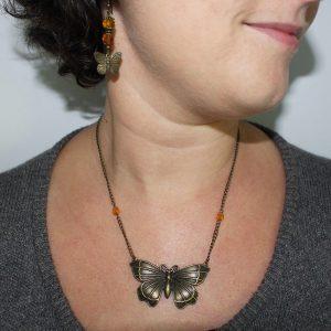 Collier et boucles d'oreilles papillon bronze vintage par Divine et Féminine.