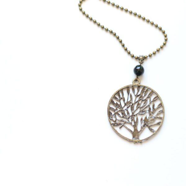 Collier arbre en laiton couleur bronze par Divine et Féminine.