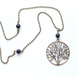 Collier arbre de vie en laiton couleur bronze par Divine et Féminine.
