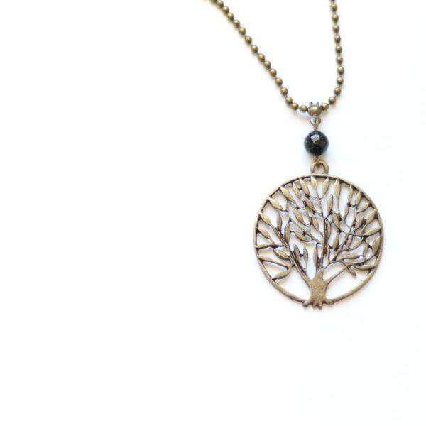 Collier arbre olivier en laiton couleur bronze par Divine et Féminine.