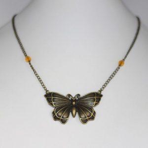 Collier papillon bronze vintage par Divine et Féminine.