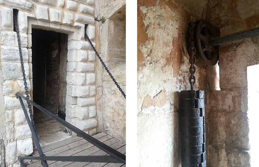Visite intérieur du fort carré d'Antibes, pont-levis.