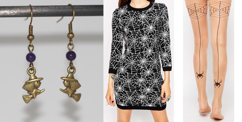 Idée de costume de sorcière à porter avec les boucles d'oreilles Halloween.