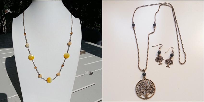 Collier perles jaunes et parure arbre Nature.