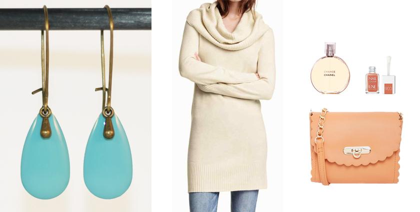 Idée de tenue féminine à associer aux boucles d'oreilles goutte bleu ciel divine et féminine.