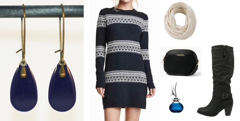 Idée de tenue féminine à associer aux boucles d'oreilles goutte bleu marine divine et féminine.