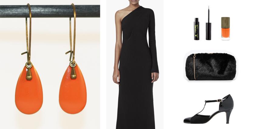 Idée de tenue féminine à associer aux boucles d'oreilles goutte orange divine et féminine.
