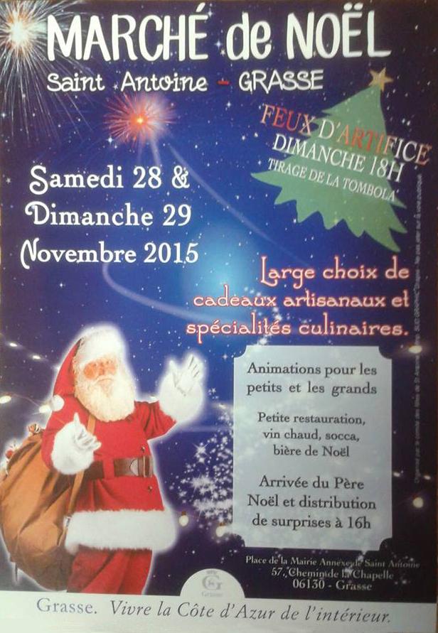 Affiche du marché de Noël de Grasse Saint-Antoine les 28 et 29 Novembre 2015.