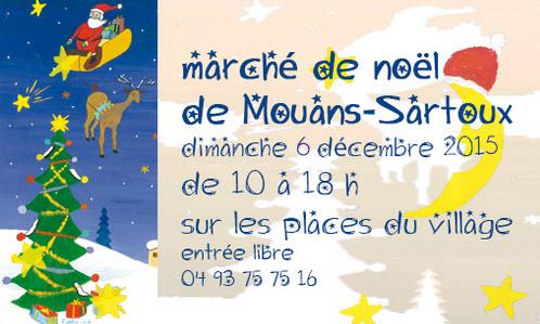 Affiche du marché de Noël de Mouans-Sartoux le dimanche 6 décembre 2015.