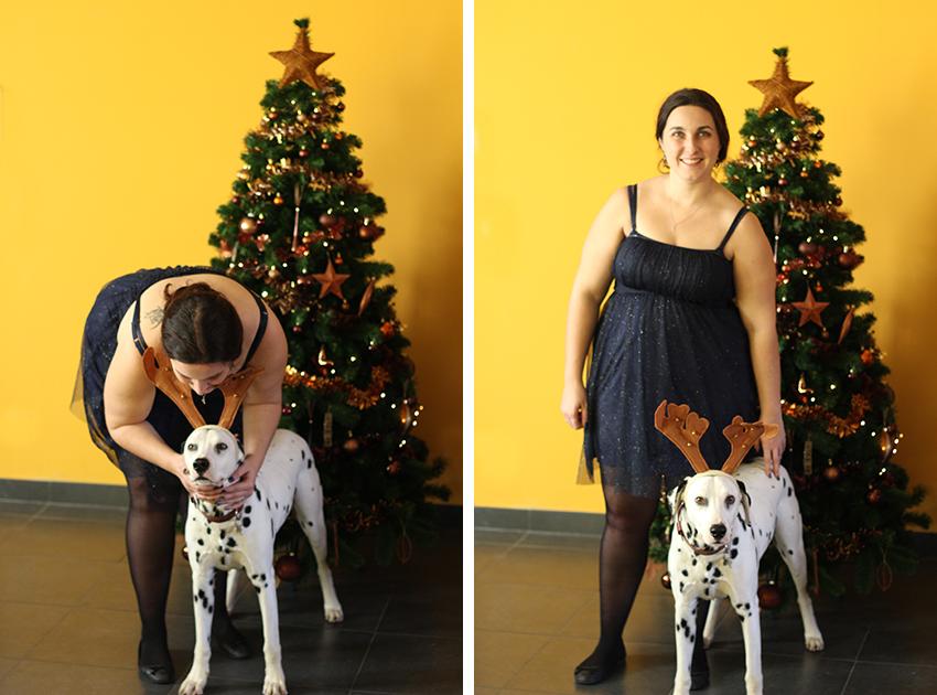 Look de fête de Noël, paillettes et Domino.