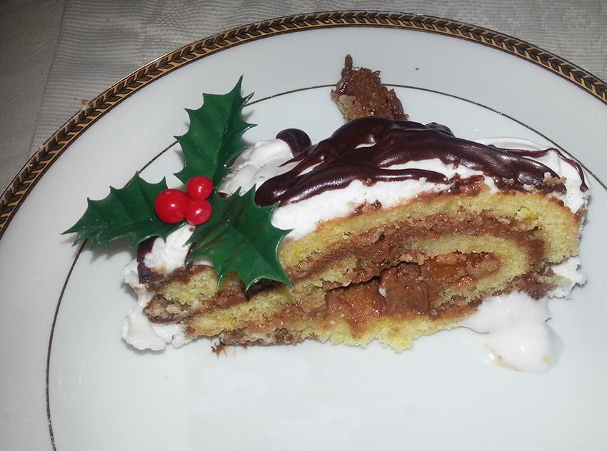 Part de ma recette de bûche de Noël chocolat orange.