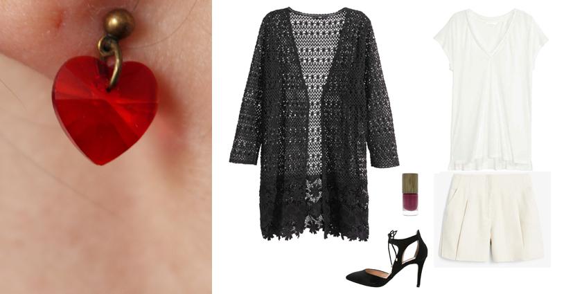 Idée de tenue féminine bohème chic à assortir aux boucles d'oreilles coeur, pour la Saint-Valentin par exemple.