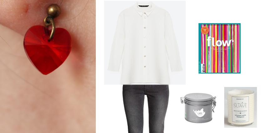 Idée de tenue féminine cocooning à assortir aux boucles d'oreilles coeur, pour la Saint-Valentin par exemple.