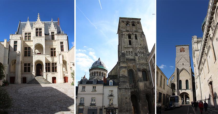 Ville de Tours : hôtel Groslot, tour Charlemagne et basilique Saint-Martin.