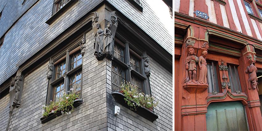 Ville médiévale avec détails sculptés en bois, à Tours.