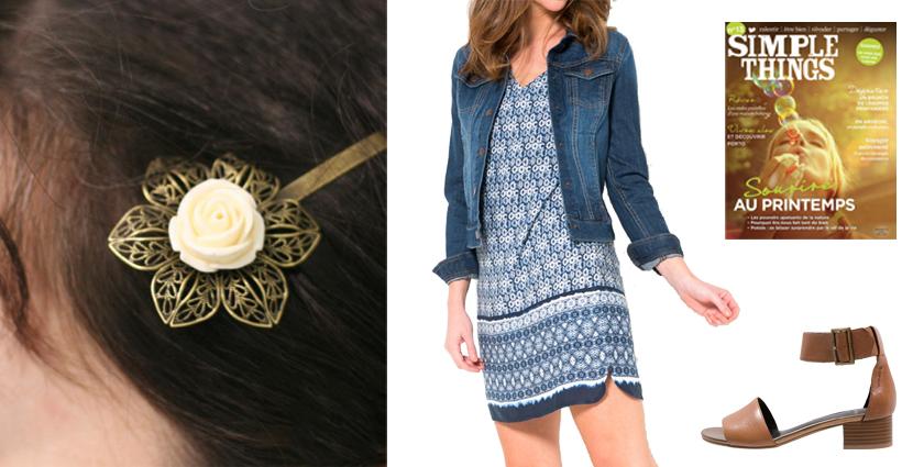 Idée de tenue féminine pour le Printemps à associer avec une barrette à cheveux fleur blanche, Divine et Féminine.