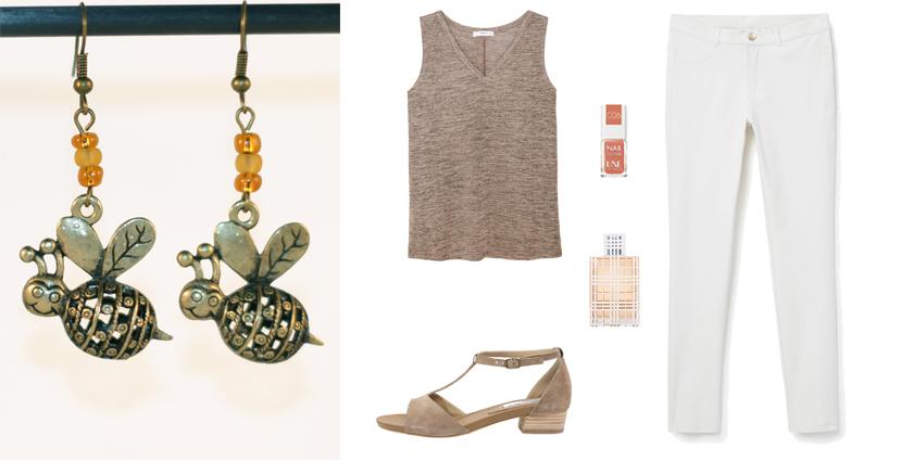 Idée de tenue féminine pour le Printemps à associer aux boucles d'oreilles abeilles bronze et perles couleur miel, Divine et Féminine.