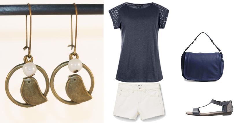 Idée de tenue féminine pour le Printemps à associer aux boucles d'oreilles oiseaux bronze et perles nacrées, Divine et Féminine.