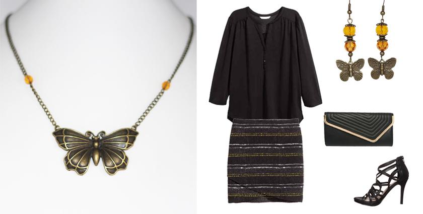 Idée de tenue féminine pour le Printemps à associer au collier bronze papillon, Divine et Féminine.
