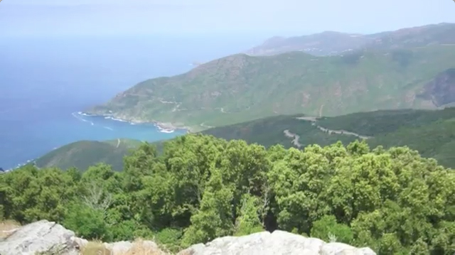 panorama vue mer depuis la tour de Sénèque, en Corse.