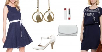Idées de tenues élégantes et féminines pour un mariage au dress code bleu marine et blanc.
