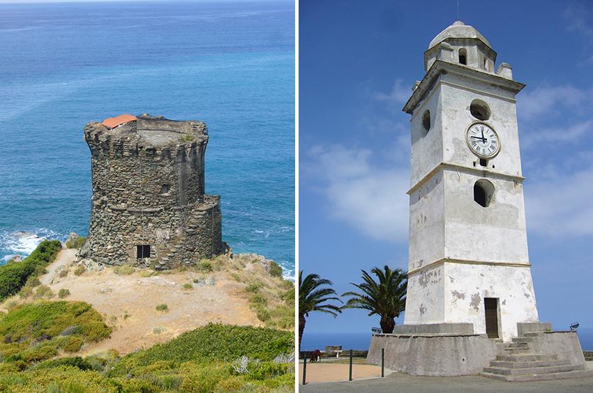 Cap corse : tour génoise de la marine d'Albu, et clocher phare de Canari.