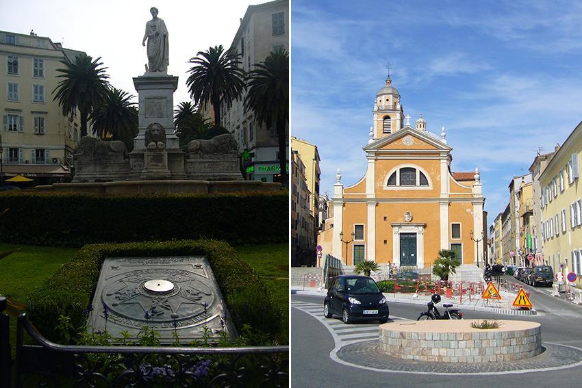 Cathédrale et statue de Bonapart, à Ajaccio, en Corse.