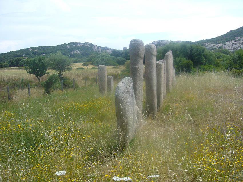 Alignement des menhirs de Stantari, sur le plateau de Cauria, en Corse.
