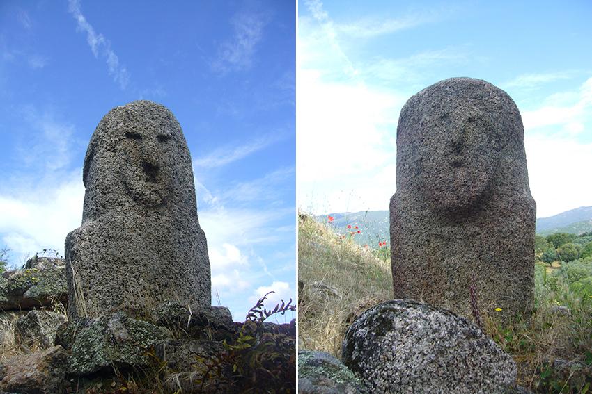 Statues menhirs à visage humain sur le site de Filitosa, en Corse.