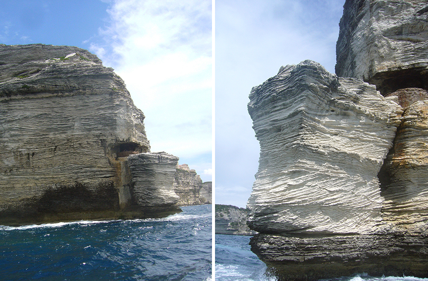 Gouvernail de la Corse, rocher des falaises de Bonifacio.