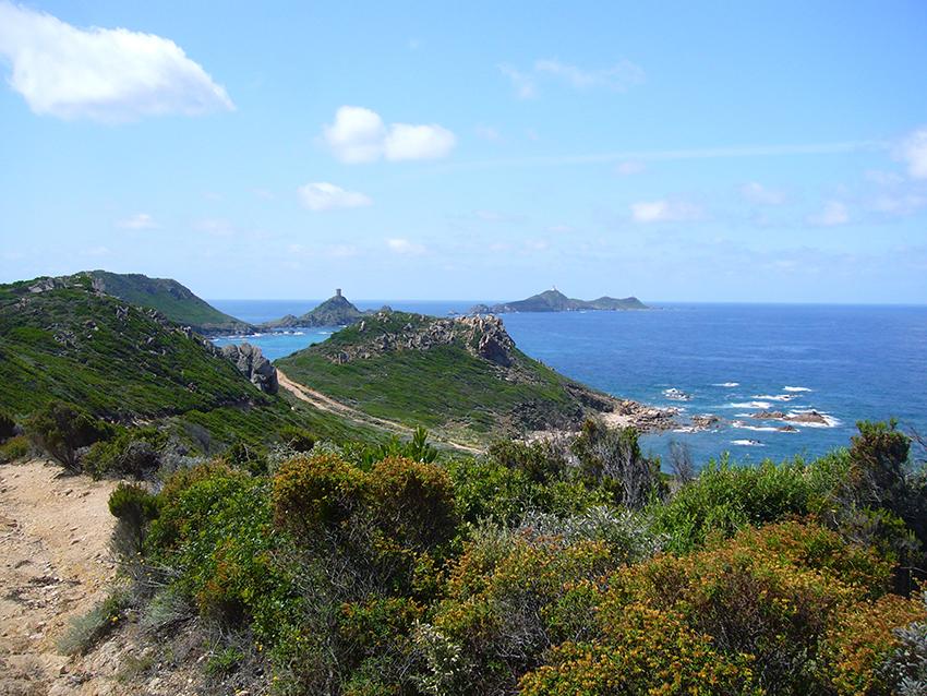 Randonnée depuis la pointe de la Parata vers Capo di Feno, en Corse, avec vue sur les îles sanguinaires.