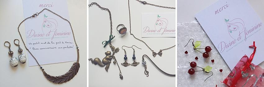Tranches de bonheur : commande de bijoux et accessoires Divine et Féminine.