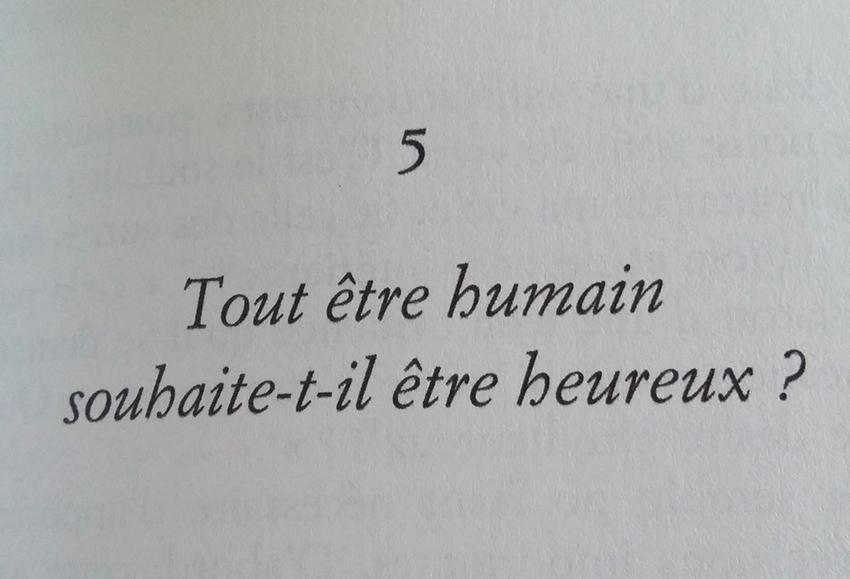 Question issue du livre de Frédéric Lenoir : Du bonheur un voyage philosophique.