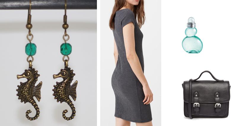 Tenue féminine à porter avec les boucles d'oreilles hippocampe de divine et féminine, pour une rentrée en beauté.