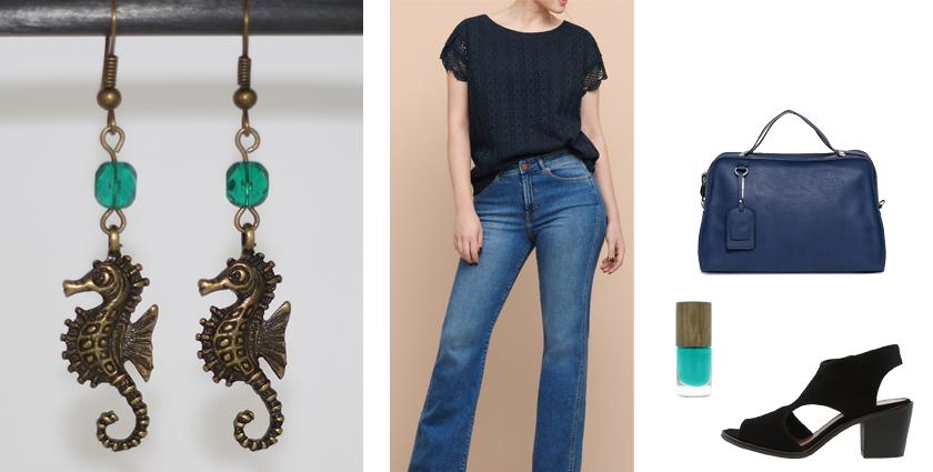 Tenue féminine à porter avec les boucles d'oreilles hippocampe de divine et féminine, pour un look de ville chic et décontracté.