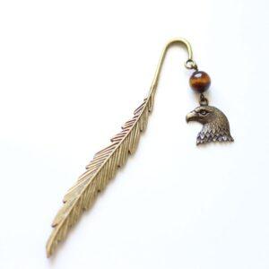 Marque page aigle royal et sa plume en métal, laiton couleur bronze par Divine et Féminine.