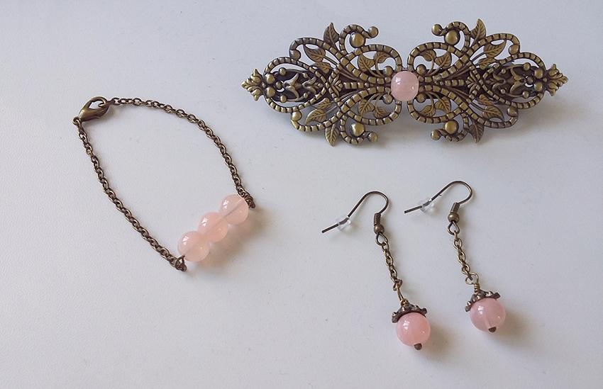 Parure de mariage bronze et rose vintage créée sur mesure par Divine et Féminine.