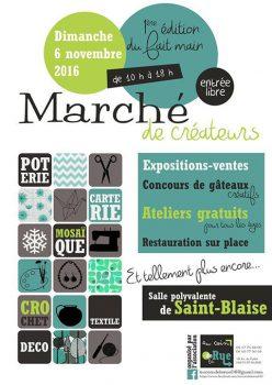 Affiche du marché des créateurs de Saint-Blaise.