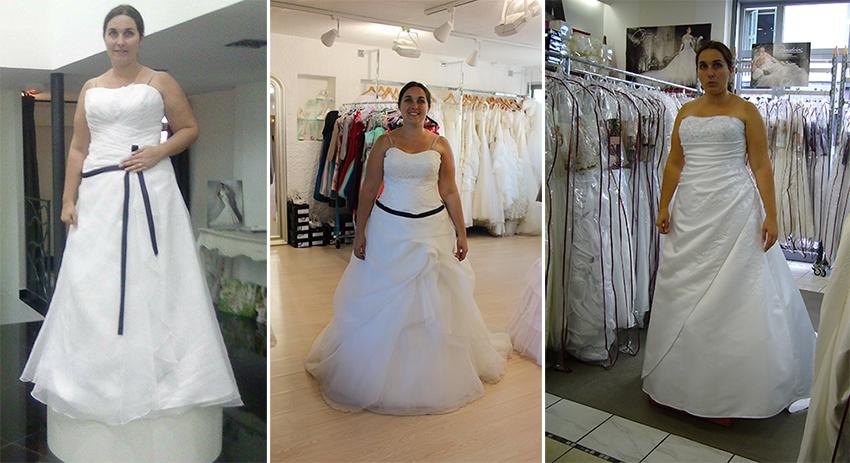 Les essayages en boutiques de robes de mariées.