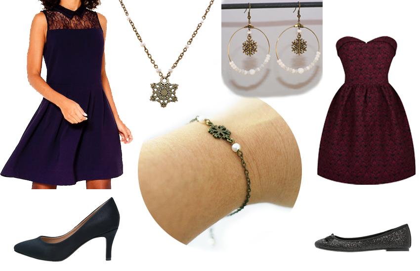 Quoi porter en hiver ? Des robes de fêtes et bijoux en laiton bronze Divine et Féminine.