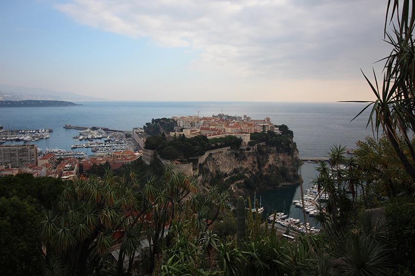 Panorama sur le rocher de Monaco, depuis le jardin exotique.