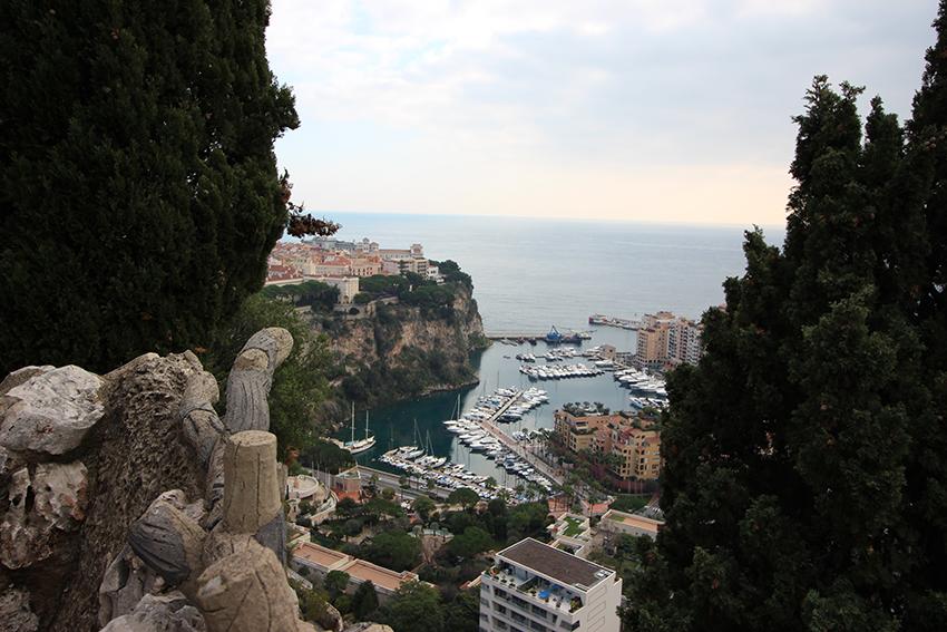 Aperçu de la vue sur Monaco, depuis le jardin exotique.