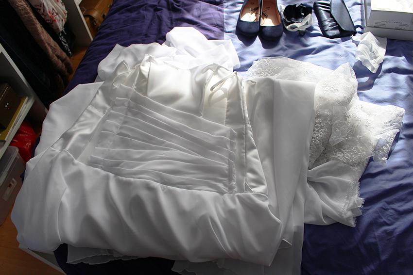Trait d'union création, robe de mariée sur mesure : drapé ok.