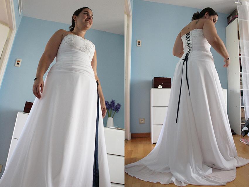 Ma robe de mariée créée sur mesure par Amandine Relier de Trait d'union création.