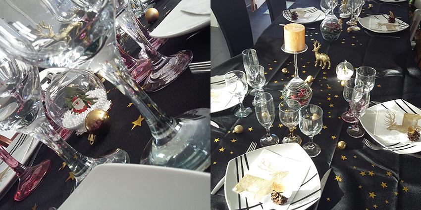 Tranches de bonheur : décoration table de Noël en noir et or.