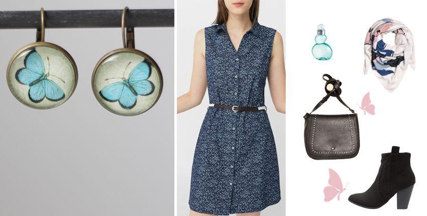 Idée de tenue élégante en liberty pour femme, avec les boucles d'oreilles papillon bleu de Divine et Féminine.