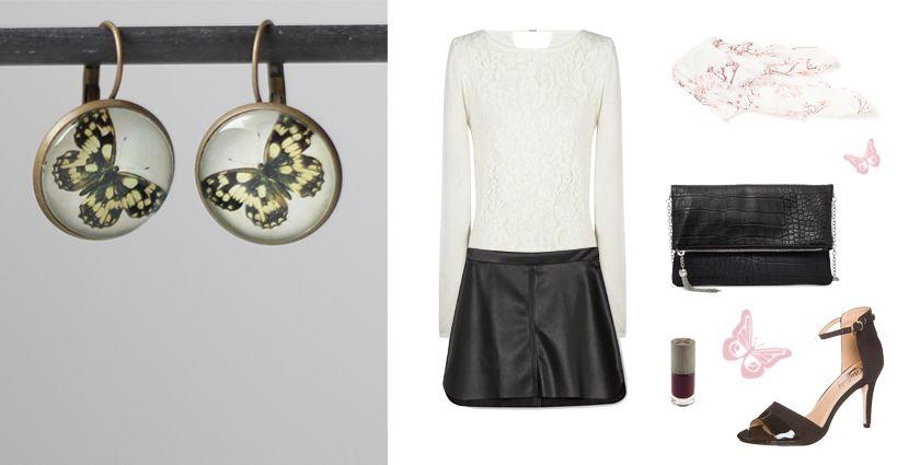 Idée de tenue rock pour femme, avec les boucles d'oreilles papillon noir de Divine et Féminine.